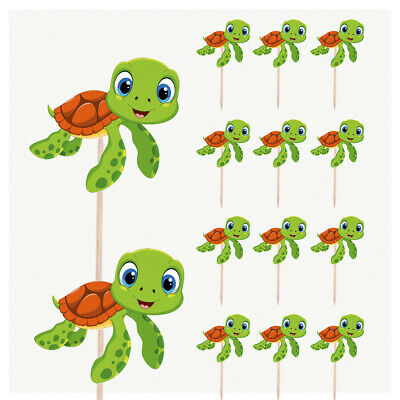 £4.99 • Buy Turtle Tortoise Birthday Cupcake & Party Food Toppers Decorations Picks 14 Pack