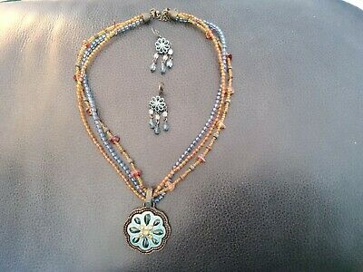 $ CDN2.76 • Buy Lia Sophia  Vintage Necklace And Earrings Set. Turquoise And Brown Tones.