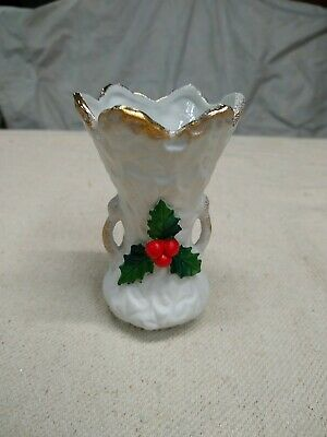 $ CDN13.16 • Buy Vintage Japan Christmas Bisque Vase  Holly Berry Gold Trim 4""