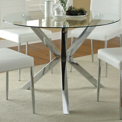 Clear Tempered Glass Dining Table 90cm Round Coffee Dinner Table With Chrome Leg • 115.95£