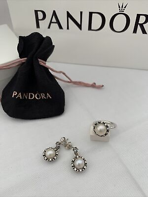 PANDORA SILVER And PEARL RING/EARRING SET Size 52 • 65£
