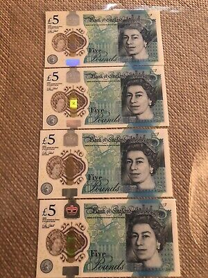 AA01 Five Pound Note X4     , AA01171734 , AA01171735 , AA01171729 And AA01601 • 20£