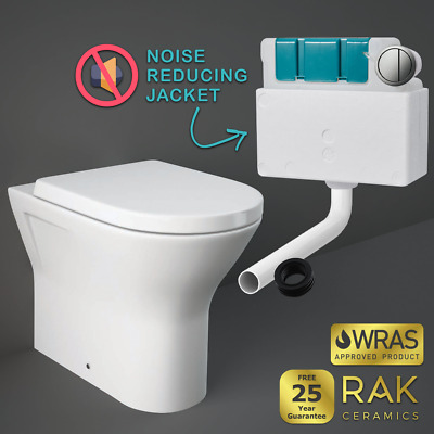 RAK Resort RIMLESS Back To Wall Toilet Pan Soft Close Seat BTW Concealed Cistern • 175.90£