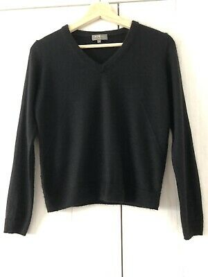 N PEAL Black Cashmere & Silk V Neck Jumper Size Small UK 8-10 Excellent Cond • 39.99£
