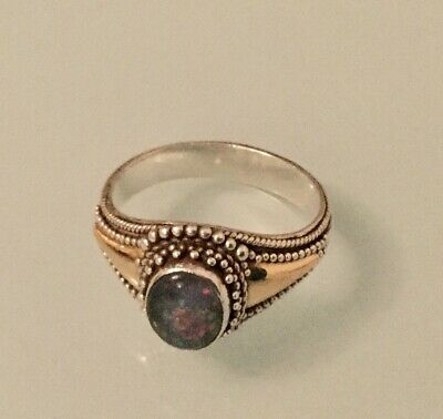 925 Sterling Silver Opal Ring With 18k Gold Inlay • 6.50£