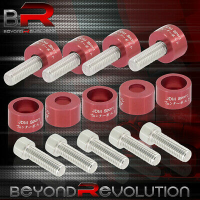 $21.99 • Buy 8mm Engine Racing Exhaust Header Cup Bolts Washer Kit For Acura Honda Jdm Red