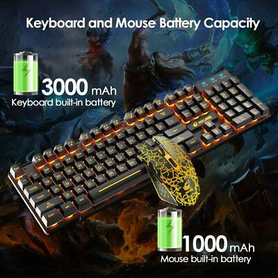 AU51.69 • Buy Wireless Gaming Keyboard And Mouse LED Backlit 4000mAh For Computer PS4 Xbox One