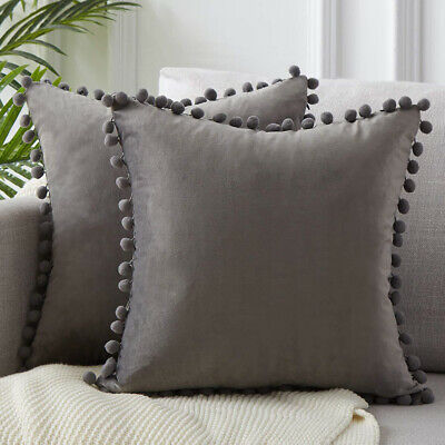 2Pcs Velvet Pillow Cover Tasseled Pom-pom Cushion Sofa Pillowcase Cover Bedroom • 8.99£