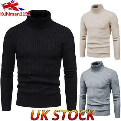 Men Turtle Neck Knitted Top Pullover Jumper Warm Sweater Tops High Neck Knitwear • 15.39£