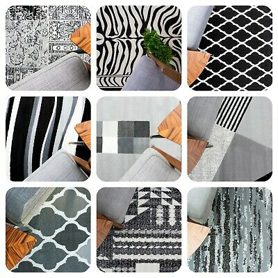 Black Grey Living Room Rugs Modern Small Large Geometric Rugs Long Hall Runners • 19.95£