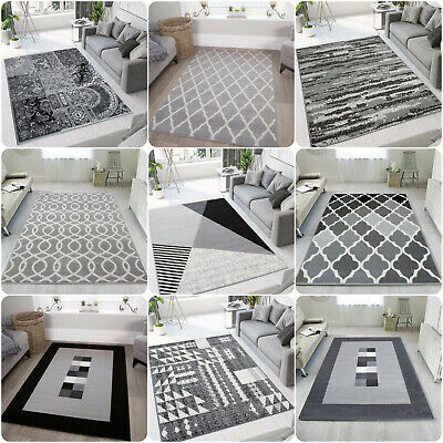 Silver Grey Living Room Rugs Cheap Small Large Geometric Rugs Long Hall Runners • 29.95£