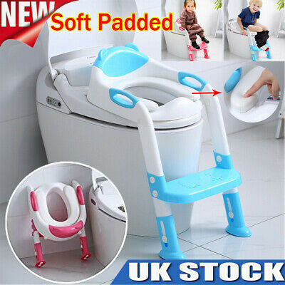 Children Soft Padded Toilet Seat & Ladder Toddler Training Step Up For Kids Baby • 13.25£