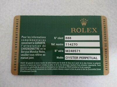 $ CDN457.33 • Buy Garanzia ROLEX ExplorerⅠWatch Ref.114270 Guarantee Certificate Card 127006