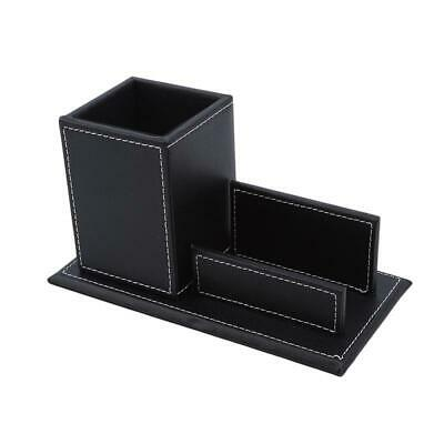 £9.87 • Buy Small Pen Holder Business Card Box Black Useful Portable Brown Office Organizer