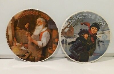 $ CDN10.47 • Buy Vintage Santa Christmas Set Of 2 Plates Norman Rockwell