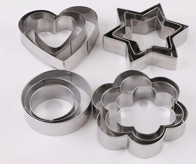 12 Pcs Cookie Cutters Heart,Flower,Round And Star,Stainless Steel DIY Mold Tools • 4.99£