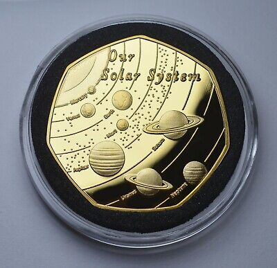 OUR SOLAR SYSTEM 24ct Gold Commemorative In Capsule Sun/Earth/Moon/Mars/Planets • 7.99£