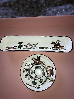 Crown Staffordshire Bone China Pin Tray. Small Dish Coalport Hunting Scene • 15£