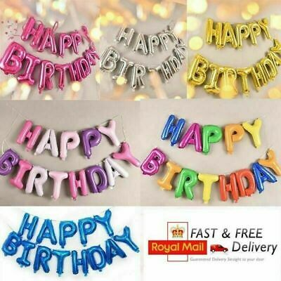£3.09 • Buy Happy Birthday Balloons Banner Balloon Bunting Party Decoration Inflating Decor