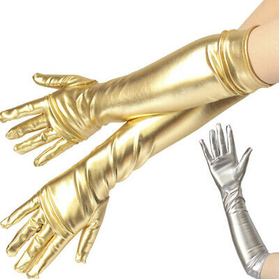 Sexy Women Shiny Long Gloves Leather Wet Look Latex Party Opera Costume  HL • 5.87£