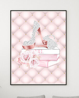 Glam Wall Art Fashion Print Shoes Books Pink Silver Picture Modern Bedroom A4 • 5.49£