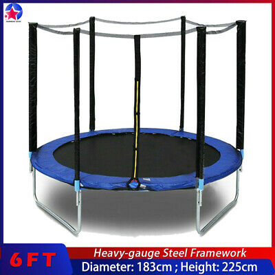 AU223.96 • Buy 6FT8FT Kids Trampoline With Spring Cover Safety Net Jumping Pad Protection Guard
