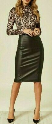 £11.99 • Buy New U.k Women Ladies Black Faux Leather Pencil Skirt With Zip Up Back Date Night