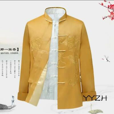 $59.38 • Buy Mens Chinese Stand Collar Tang Suit Dragon Long Sleeve Coat Embroidery Jackets