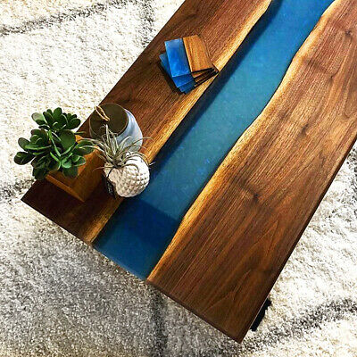 £953.84 • Buy Coffe Table With Epoxy River - Live Edge Wood Natural Oak Wooden Handmade Resin