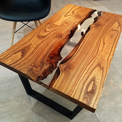 £947.82 • Buy Live Edge Coffe Table With Epoxy River - Wood Natural Oak Wooden Handmade Resin