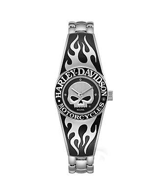 Harley Davidson 76L190 Ladies Flames Willie G Skull Steel Bangle Watch RRP £229 • 179£