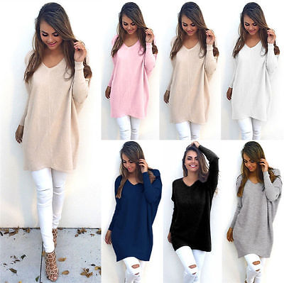 Womens Ladies V-Neck Long Sleeve Jumper Blouse Tops Sweater Pullover Longline • 11.58£