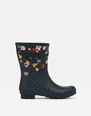 Joules Womens Molly Mid Height Printed Wellies - Navy Blossom - Adult 9 • 44.95£