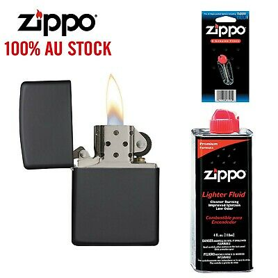 AU49.99 • Buy NEW Zippo 218 Black Matte Lighter With 118ml Fluids & Flints, 90218, 100%Genuine