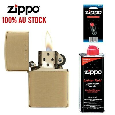 AU55.99 • Buy Zippo 204 Brushed Brass Lighter Gold W/ 118ml Fluids & Flints, 90204, 100GENUINE