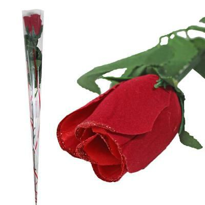 A Single Red Wooden Roses In Gift Wrapped Wedding Favours/Valentines Day Gift • 7.99£