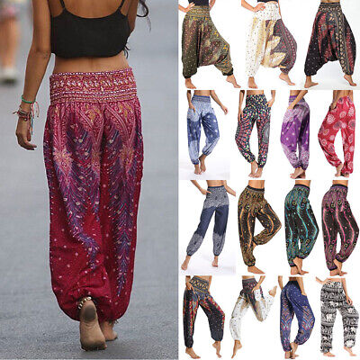 AU26.99 • Buy Womens Casual Baggy Hareem Plus Size Harem Trousers Gypsy Hippie Boho Yoga Pants