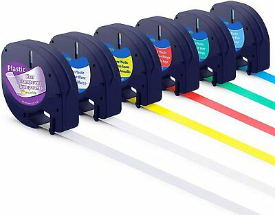 AU22.89 • Buy 6PK 16952 91331 Plastic Tape Compatible DYMO Letratag Label Maker 12mm LT-100H