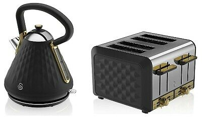 Black And Gold Swan Gatsby Set Combo Pyramid Kettle & 4-Slice Toaster Gift Ideas • 159.99£