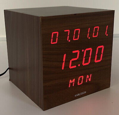 Retro Digital Alarm Clock Cube Square Walnut Cool Red LED Wooden Wood Karlsson • 14.95£