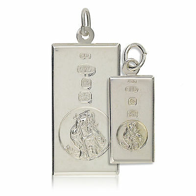 Sterling Silver St Christopher Dog Tag Ingot Pendant Free Engraving Gift Box  • 34.99£
