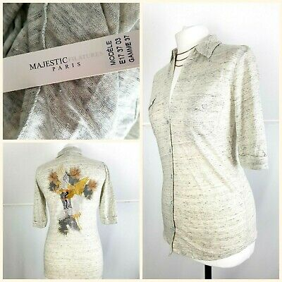 $40.30 • Buy Majestic Filatures Linen Jersey Shirt Blouse Embroidered Back Size 1 Small