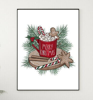 £4.12 • Buy Hot Chocolate Christmas Print Candy Cane XMAS PICTURE A4  Watercolour Wall ART