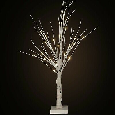 Birch Twig Tree Desk Table 24 Warm White LED Lights Battery Operated 60cm 2FT • 10.99£