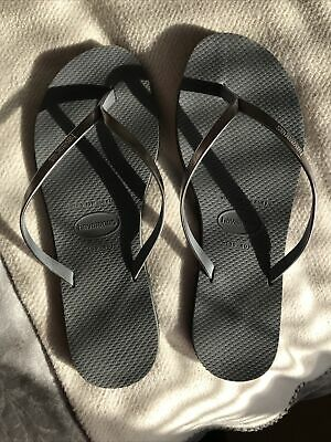 Havana Flip Flops Silver /grey With Leather Straps Size 39-40 • 20£