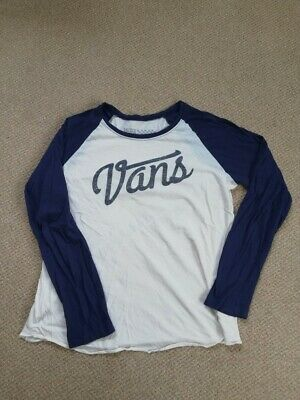Soft Womens Vans Top With Navy Sleeves And Vans Logo Size M • 15£