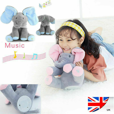 Peek A Boo Singing Elephant Toy Stuffed Music Doll Animated Kids Gift Baby Cute • 8.99£