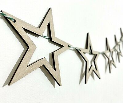 Wooden Hollow Bunting Star Flags Christmas Craft Blanks MDF Wood Shapes • 0.99£