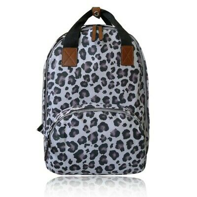 Oilcloth Backpack Laptop Rucksack Leopard Print Brown/Black/Pink • 13.99£