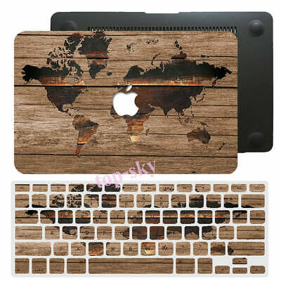 $16.73 • Buy Wood World Map Rubberized Hard Cut Out Case KB Cover For New/Old Macbook Pro Air